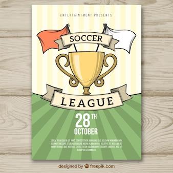 Folheto de liga de futebol na mão desenhada estilo