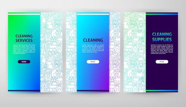 Folheto de limpeza web design. ilustração em vetor de banner de contorno.