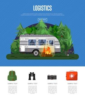 Folheto de logística de viagens com reboque de acampamento