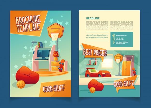 Folheto de loja de móveis, conceito com elementos de decoração dos desenhos animados para sala de crianças.