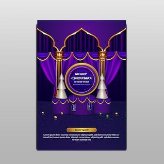 Folheto de luxo em promoção especial de feliz natal, príncipes azul