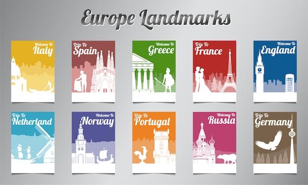 Folheto de marco famoso da europa