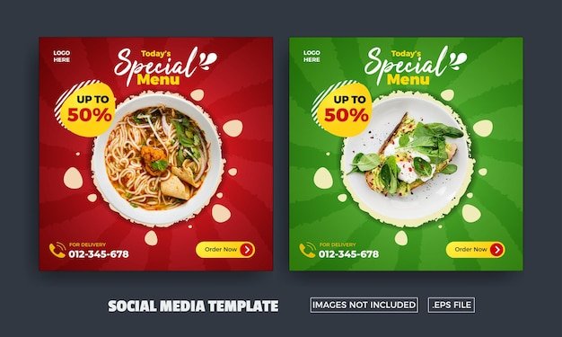 Folheto de menu especial