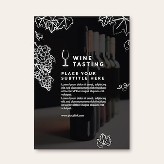 Folheto de modelo de degustação de vinhos