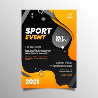 Folheto de modelo de esporte gradiente