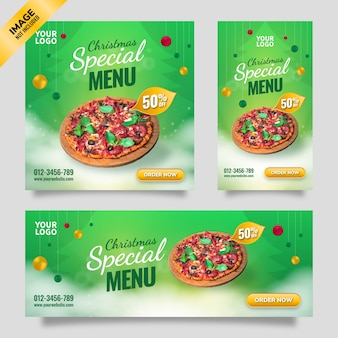 Folheto de modelo de mídia social de menu especial de feliz natal com fundo gradiente verde