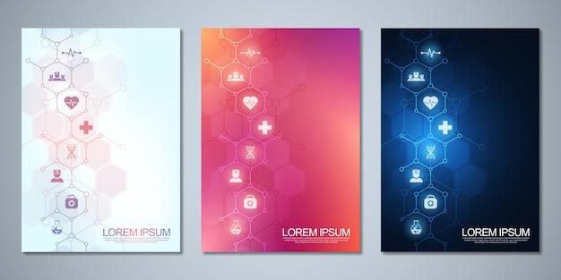 Folheto de modelo ou capa, livro, folheto, com ícones e símbolos médicos. conceito de tecnologia de saúde, ciência e medicina.