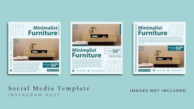 Folheto de móveis minimalistas ou banner de mídia social premium vector