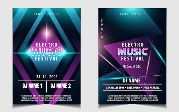 Folheto de música de festa com luz de néon colorida ou design de pôster