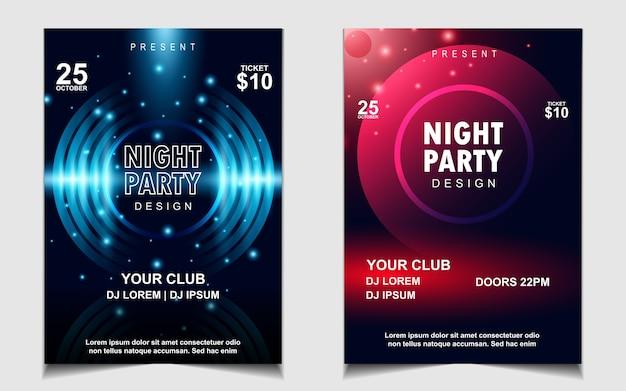 Folheto de música de festa com luz de neon colorido