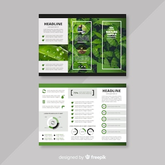 Folheto de natureza com três dobras com imagem
