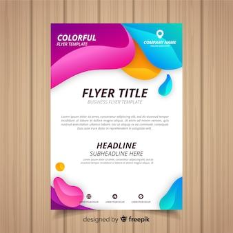 Folheto de negócio abstrato com estilo colorido