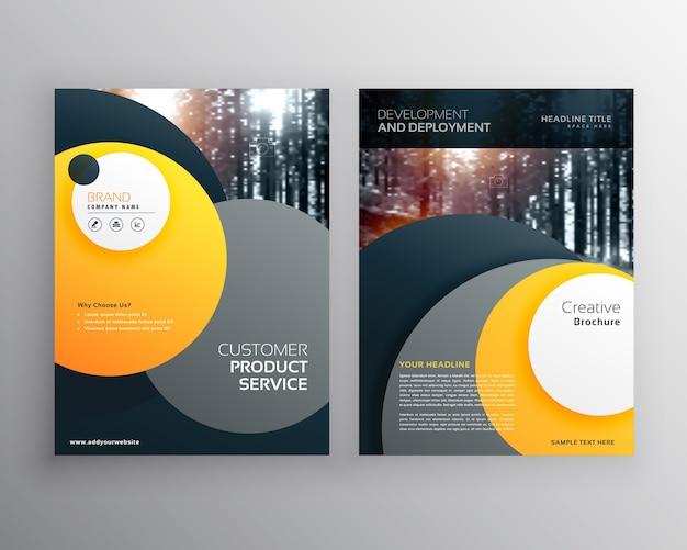 Folheto de negócios amarelo folheto design a4 modelo com formas de círculo abstrato