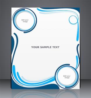 Folheto de negócios, capa de revista, web ou modelo de design corporativo com ondas nas cores azuis