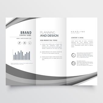 Folheto de negócios com três dobras cinza onda criativa