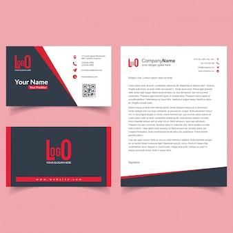 Folheto de negócios e conjunto de cartões de visita com vetor de fundo escuro