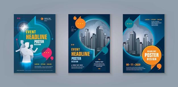 Folheto de negócios, folheto, modelo, design, conjunto, abstratos, balões, discurso, capa, relatório anual