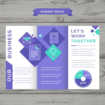 Folheto de negócios trifold roxo