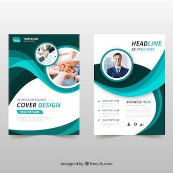 Folheto de negócios verdes ondulados
