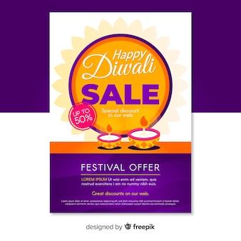 Folheto de oferta feliz festival de vendas de diwali