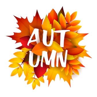 Folheto de outono com ramo de folhas