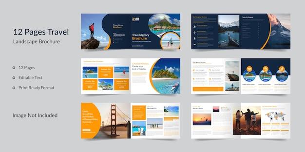 Folheto de paisagem de negócios de viagens de 12 páginas