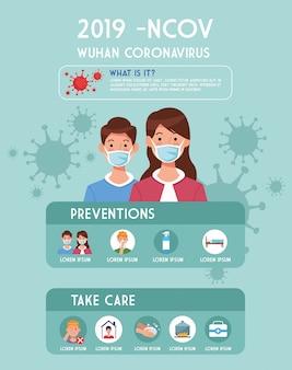 Folheto de pandemia covid19 com casal usando máscaras infográficos ilustração design