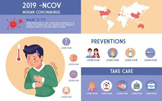 Folheto de pandemia covid19 com homem doente e infográficos ilustração design