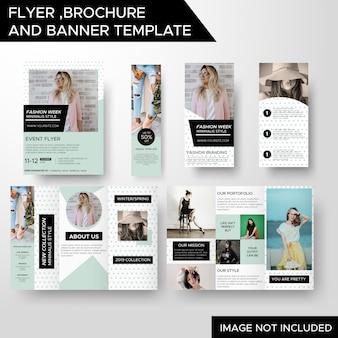 Folheto de panfleto de negócios de moda criativa e modelo de banner