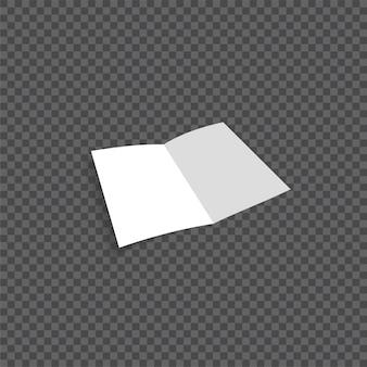 Folheto de papel dobrável em branco aberto de vetor