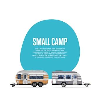 Folheto de pequeno acampamento com trailers de viagem
