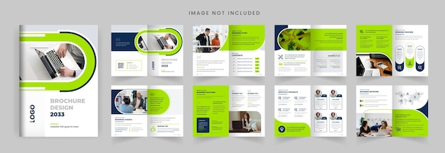 Folheto de perfil da empresa, layout, design, colorido, moderno, forma, minimalista, business, brochura