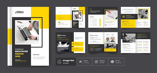 Folheto de perfil da empresa, layout, design, design, cor amarela, formato, minimalista, business, folheto, business.