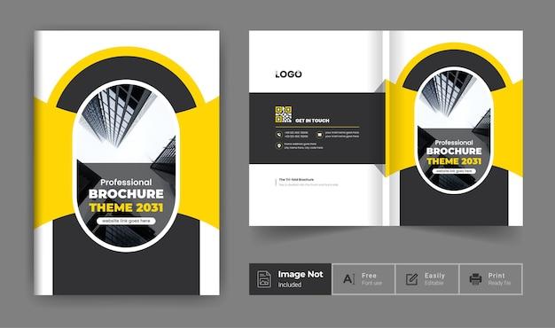 Folheto de perfil da empresa, modelo de layout de capa, design de folheto comercial minimalista amarelo biflod