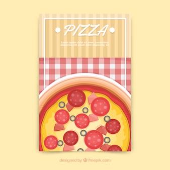 Folheto de pizza e toalha de mesa
