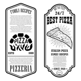 Folheto de pizzaria. elementos de design para logotipo, etiqueta, sinal, crachá, cartaz. ilustração em vetor