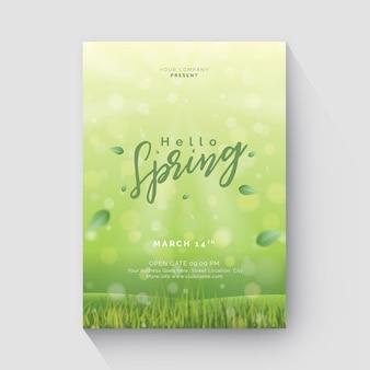 Folheto de primavera com bokeh