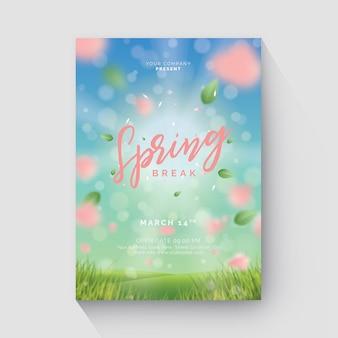 Folheto de primavera com fundo de bokeh