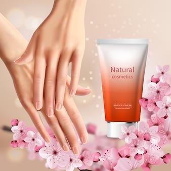 Folheto de promoção de sakura com mãos de mulheres e tubo de creme para as mãos com nome natural