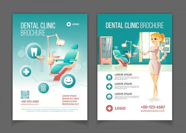 Folheto de publicidade de clínica dentária dos desenhos animados ou promo livreto páginas modelo com cadeira de estomatologia confortável