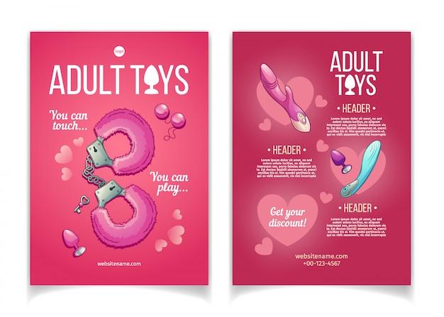 Folheto de publicidade de desenhos animados de brinquedos adultos