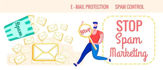 Folheto de publicidade é escrito stop spam marketing.