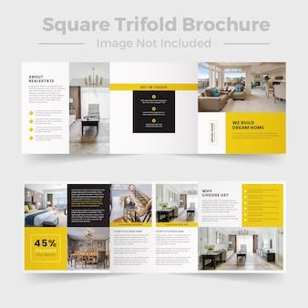 Folheto de real estate square com modelo de páginas de portfólio de catálogo
