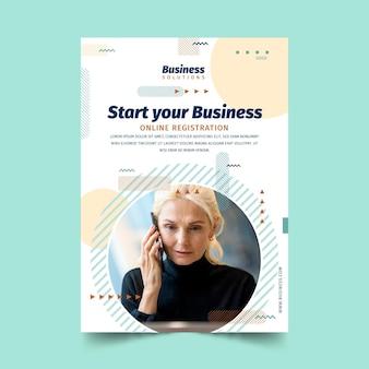 Folheto de registro online de negócios em geral