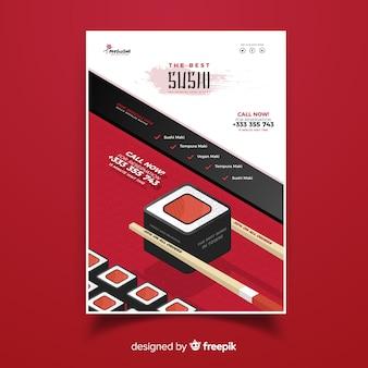 Folheto de restaurante chinês de sushi isométrica