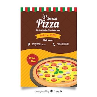 Folheto de restaurante de pizza desenhada de mão