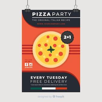 Folheto de restaurante pizza plana