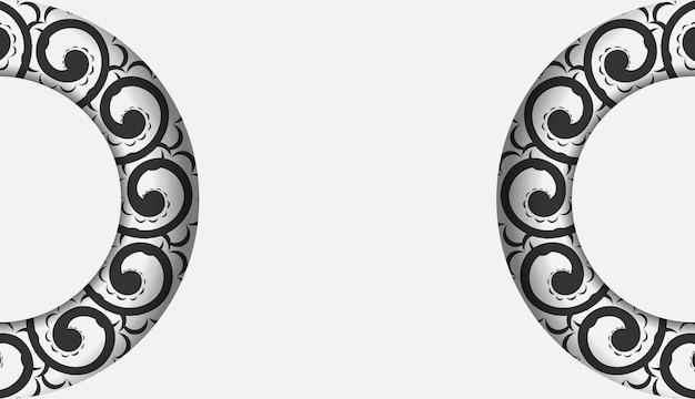 Folheto de saudação branco com ornamento grego preto