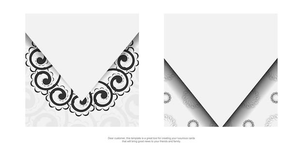 Folheto de saudação branco com padrão vintage preto