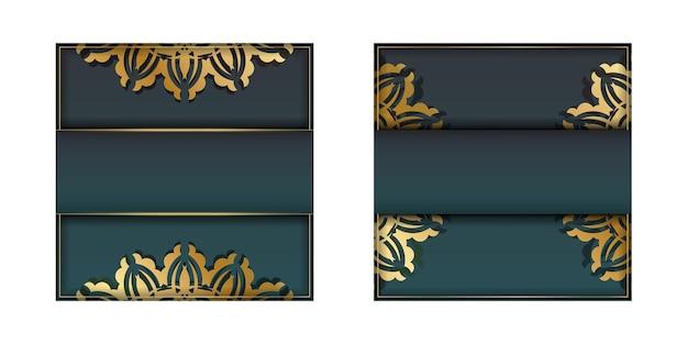 Folheto de saudação com gradiente de cor verde com enfeites de ouro vintage para seu projeto.